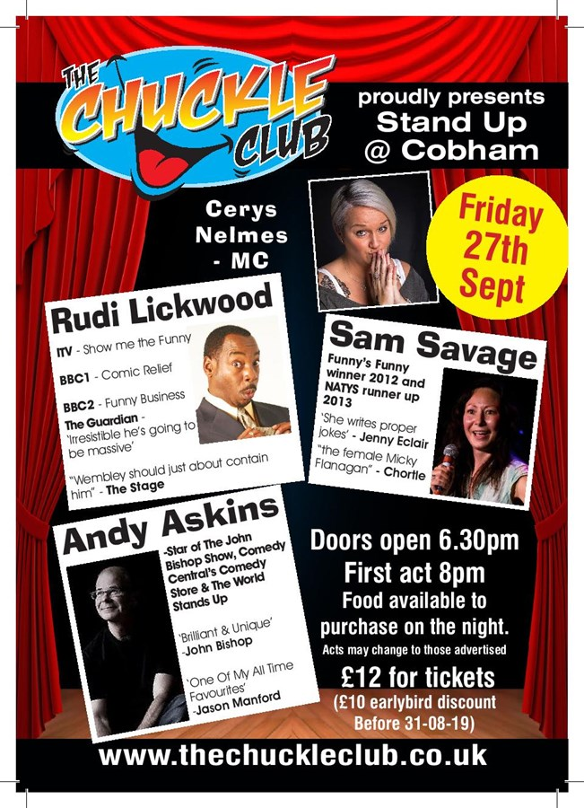 Get Information and buy tickets to Stand Up At Cobham  on The Chuckle Club
