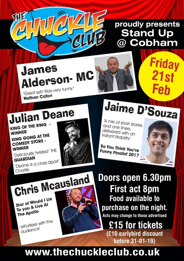 Get Information and buy tickets to Stand Up At Cobham With Headliner Chris Macausland on The Chuckle Club