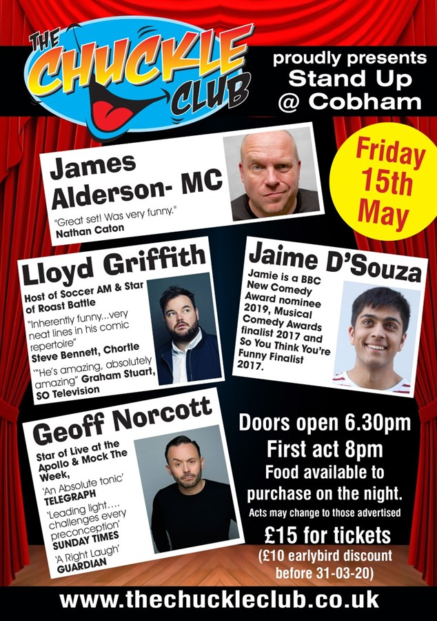 Get Information and buy tickets to Stand Up At Cobham With Headliner Geoff Norcott on The Chuckle Club