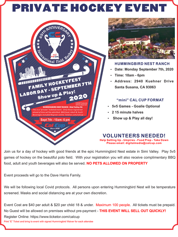Get Information and buy tickets to Mini Cal Cup 2020 Family Hockeyfest - Show Up & Play! on California Cup International Field Hockey Tournament