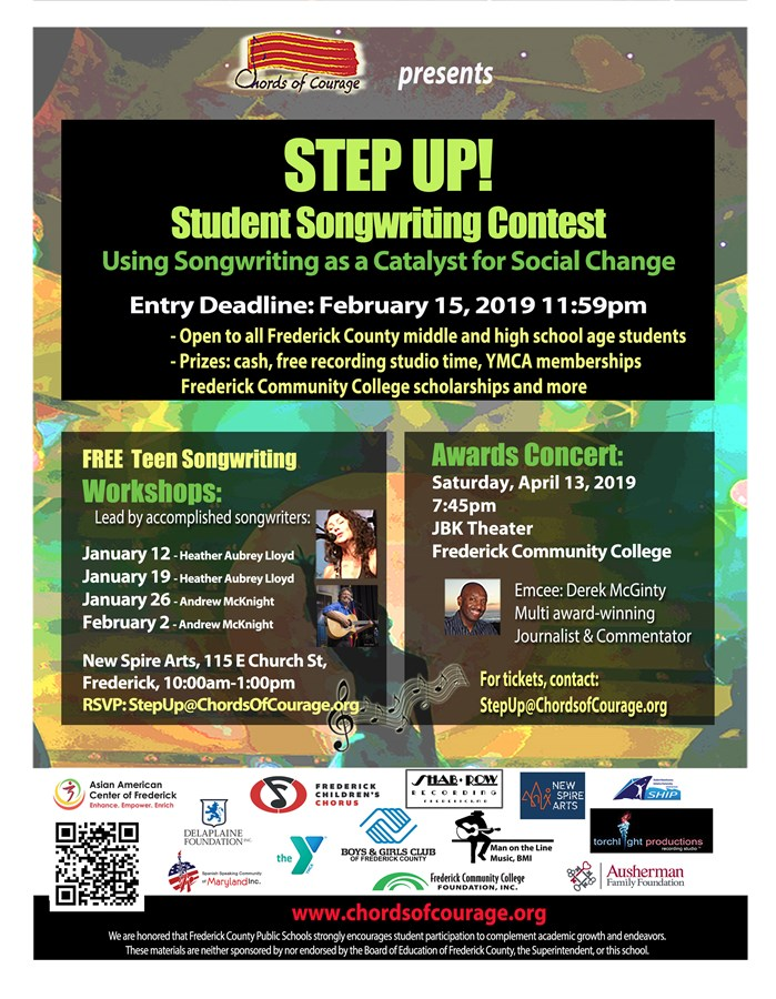 Get Information and buy tickets to STEP UP! Student Songwriting Contest 2019 Awards Concert  on chordsofcourage.org