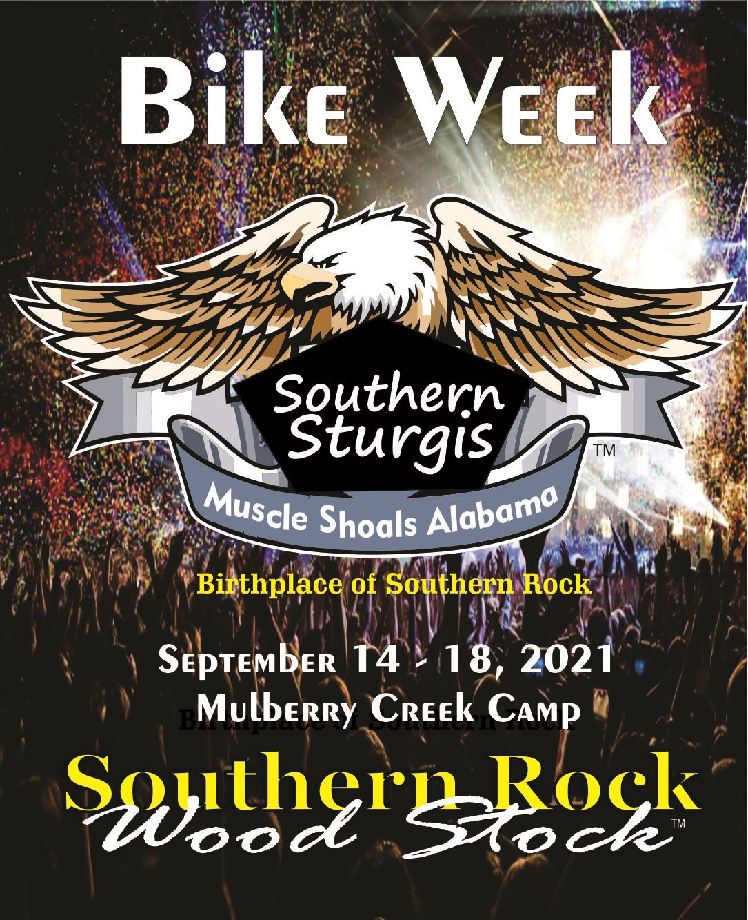 Southern Sturgis Southern Rock Wood Stock on sep. 17, 13:00@Mulberry Creek Camp - Buy tickets and Get information on www.southernrockwoodstock.com