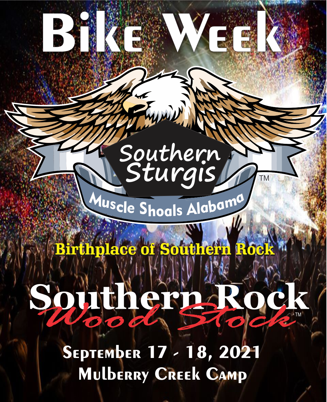 Southern Sturgis FRI Sept 17 & SAT Sept 18, 2021 Southern Rock Wood Stock on Sep 17, 13:00@Mulberry Creek Camp - Buy tickets and Get information on www.southernrockwoodstock.com southernrockwoodstock