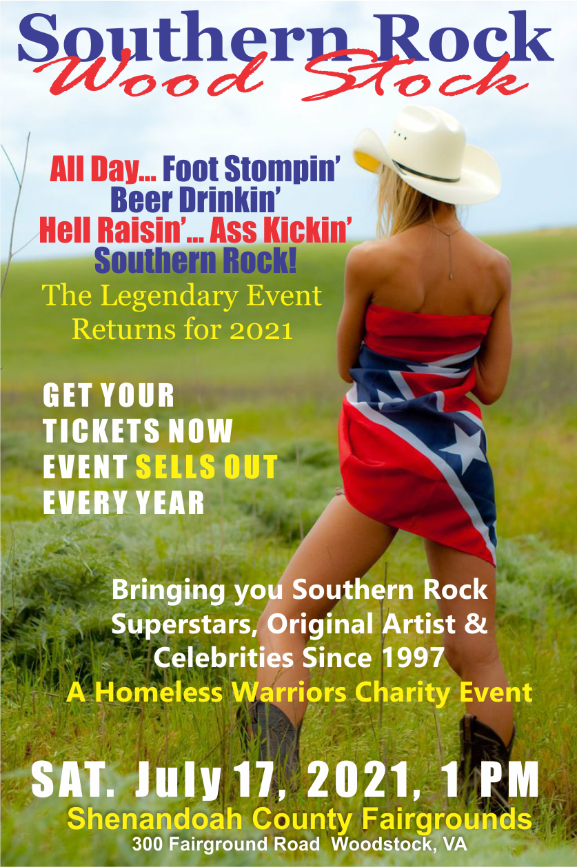 Woodstock, VA Southern Rock Wood Stock 2021  on Jul 17, 13:00@Shenandoah County Fairgrounds - Buy tickets and Get information on www.southernrockwoodstock.com southernrockwoodstock