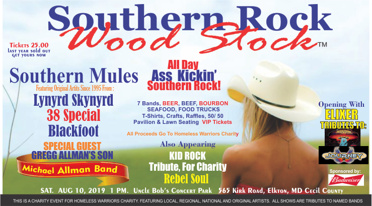 Get Information and buy tickets to Southern Rock Wood Stock - Cecil County Maryland Uncle Bob