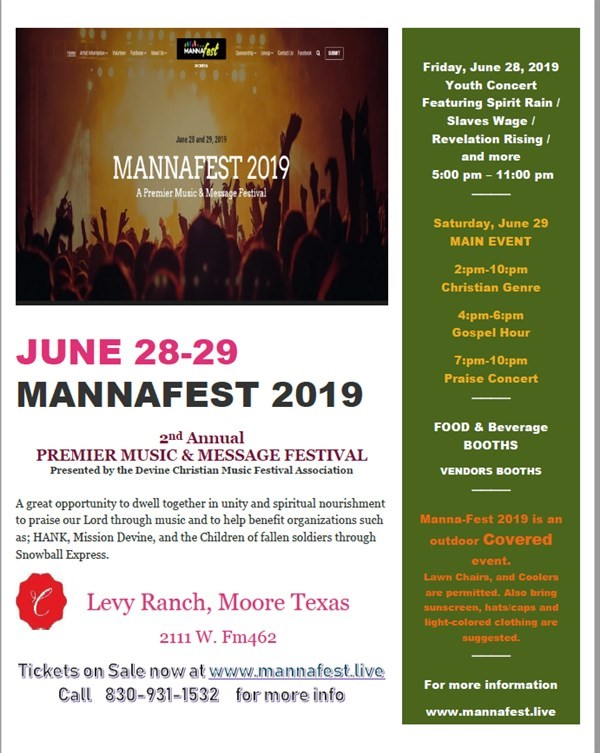 Get Information and buy tickets to MANNAFEST 2019 A Premier Music and Message Festival on Devine Christian Music Festival Association