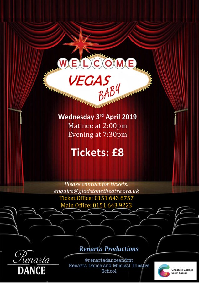 Get Information and buy tickets to Vegas Baby Renarta Dance - Cheshire College South & West on gladstonetheatre.org.uk