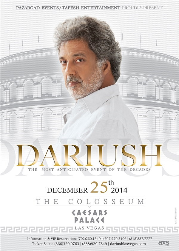 Get Information and buy tickets to Dariush at The Colosseum Las Vegas  on Pazargad Events