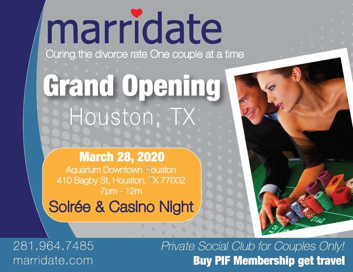 Marridate Private Social Club Grand Opening! Formal Soiree, Casino, Band, Rides, Awards, & Horse-Carriage on Mar 28, 19:00@Houston Downtown Aquarium - Buy tickets and Get information on www.marridate.com