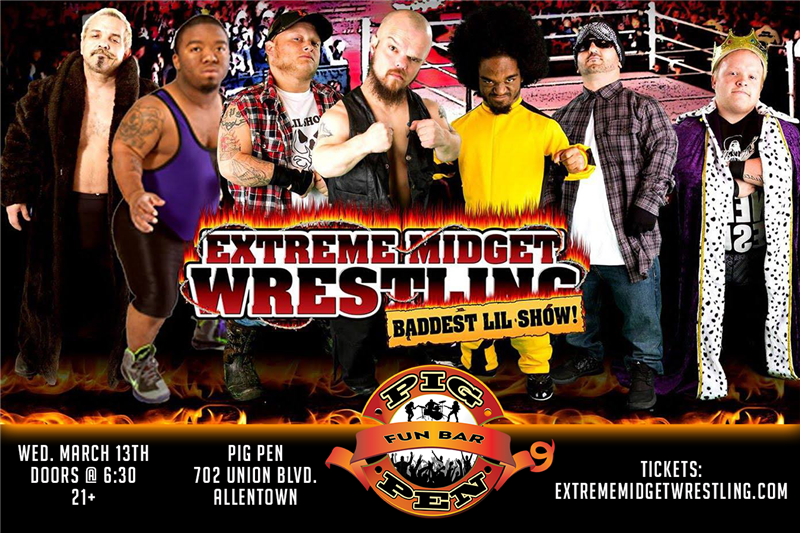 Get Information and buy tickets to Extreme Midget Wrestling Tickets at ExtremeMidgetWrestling.com on Pig Pen Fun Bar