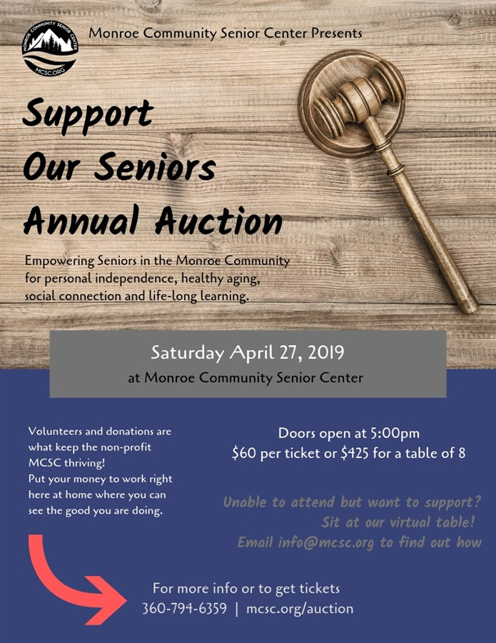 Get Information and buy tickets to Support our Seniors Annual Auction  on Monroe Community Senior Center