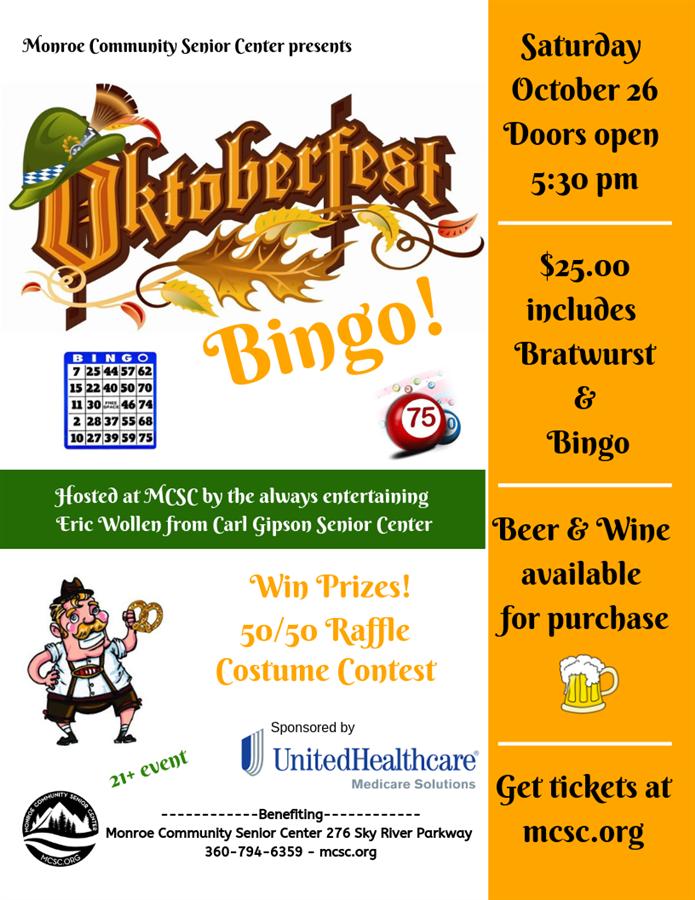 Get Information and buy tickets to Oktoberfest Bingo!  on Monroe Community Senior Center