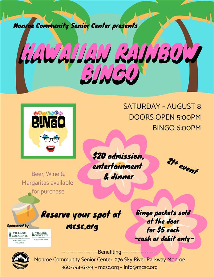 Get Information and buy tickets to Hawaiian Rainbow Bingo  on Monroe Community Senior Center