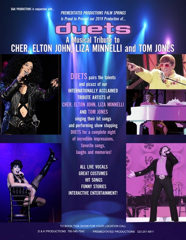 Get Information and buy tickets to SUN CITY PALM DESERT DUETS A Tribute to Cher, Elton John, Tom Jones & Liza Minnelli on Ticketor