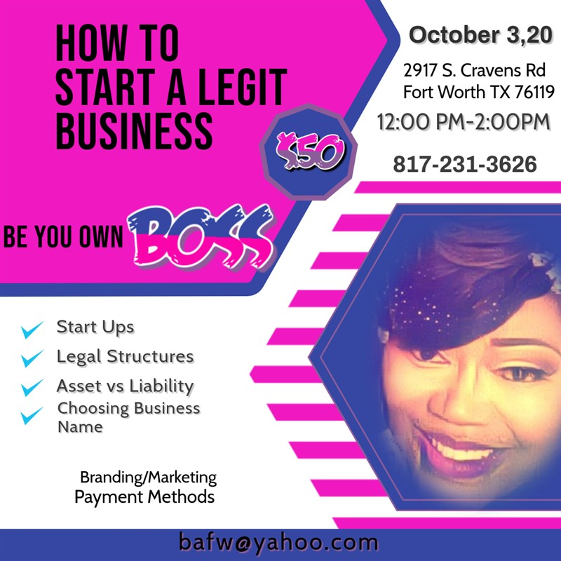 Get Information and buy tickets to Be Your Own Boss Learn How To Start A Legit Business on