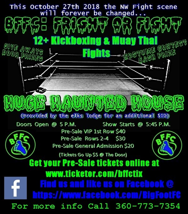 Get Information and buy tickets to BFFC: Fright Or Fight  on BFFC/Big Foot Fighting Champio
