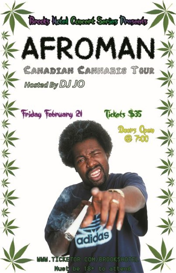 BROOKS HOTEL CONCERT SERIES PRESENTS: AFROMAN LIVE HOSTED BY DJ JO on Feb 21, 20:00@Brooks Hotel - Buy tickets and Get information on Brooks Hotel