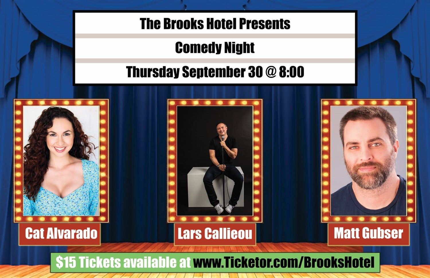 Comedy Night at the Brooks Hotel  on Sep 30, 20:00@Brooks Hotel - Buy tickets and Get information on Brooks Hotel