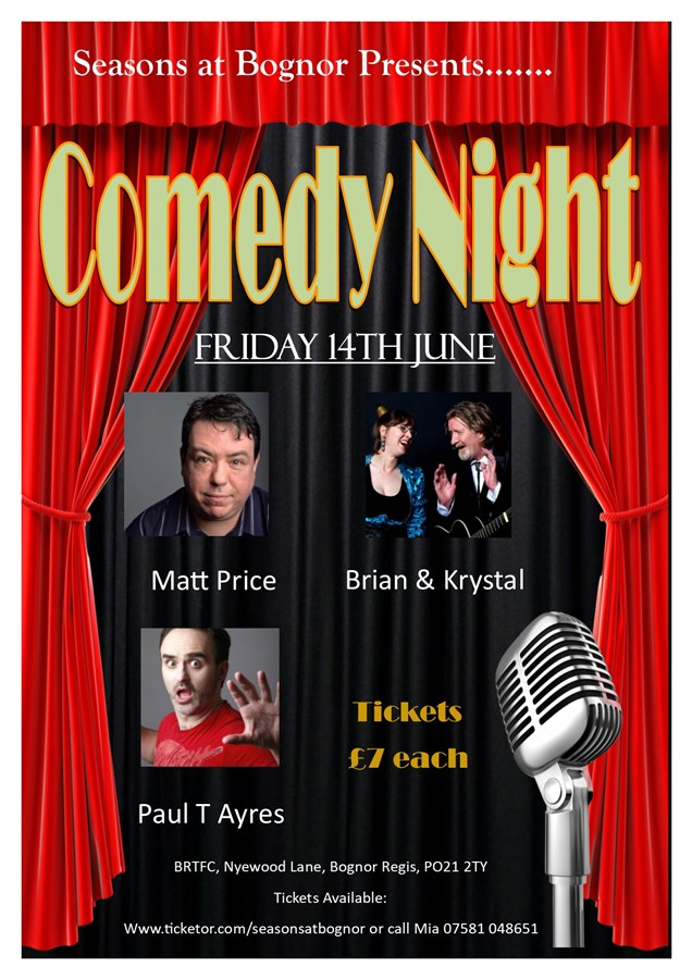 Get Information and buy tickets to Comedy Night Featuring 4 comedians on Seasons At Bognor