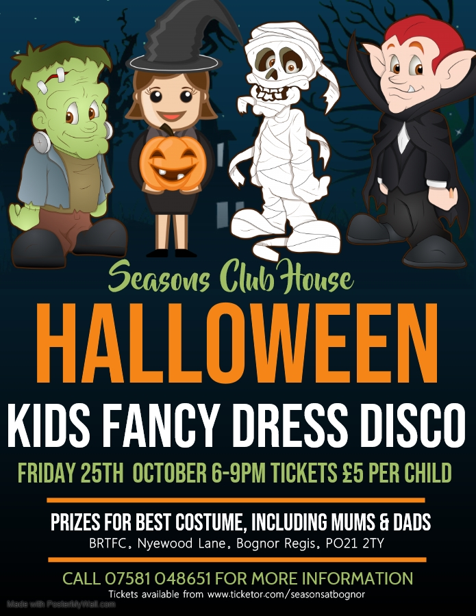 Get Information and buy tickets to Halloween Kids Fancy Dress Disco on Seasons At Bognor