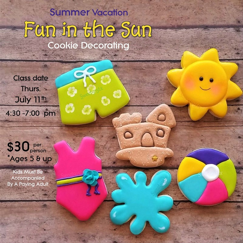Get Information and buy tickets to Summer Vacation - Fun in the Sun Cookie Decorating Social on Sweet915tx