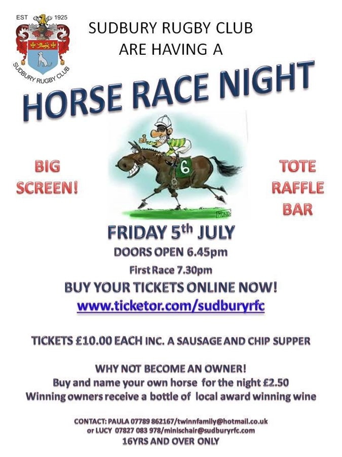 Get Information and buy tickets to Race Night  on Sudbury RFC