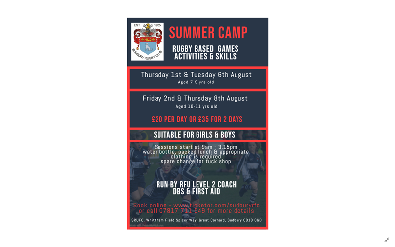 Get Information and buy tickets to Summer Camp - Ages 10-11 2nd & 8th August on Sudbury RFC