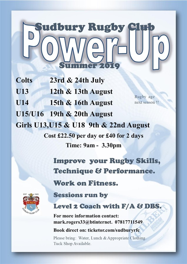 Get Information and buy tickets to Power Up - Colts 23rd & 24th July on Sudbury RFC