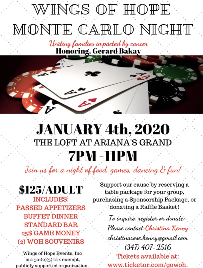 Wings of Hope Monte Carlo Night Honoring Gerard Bakay on Jan 04, 19:00@The Loft at Ariana's Grand - Pick a seat, Buy tickets and Get information on GoWOH.com