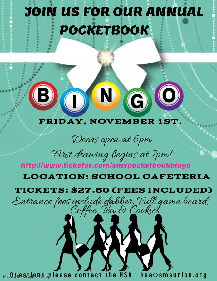 Get Information and buy tickets to 2019 SMS Pocketbook Bingo  on SMS  Basket Galore