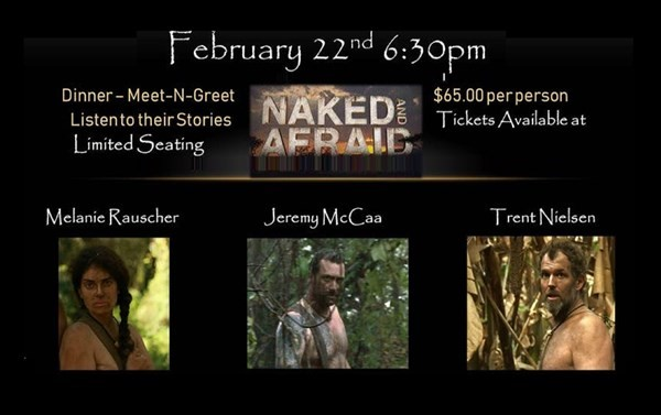 "Get Information and buy tickets to Dinner & Meet & Greet with Stars from ""Naked and Afraid"" Hosted by Paratalkradio on Thriller Events"