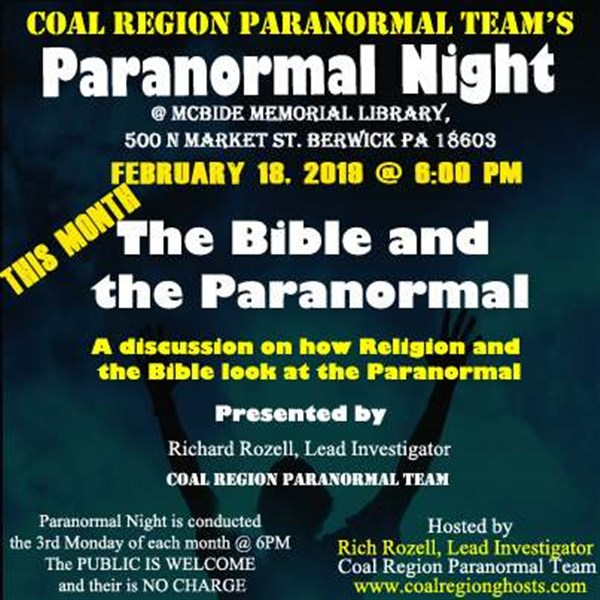 Get Information and buy tickets to The Bible and the Paranormal  on Ticketor