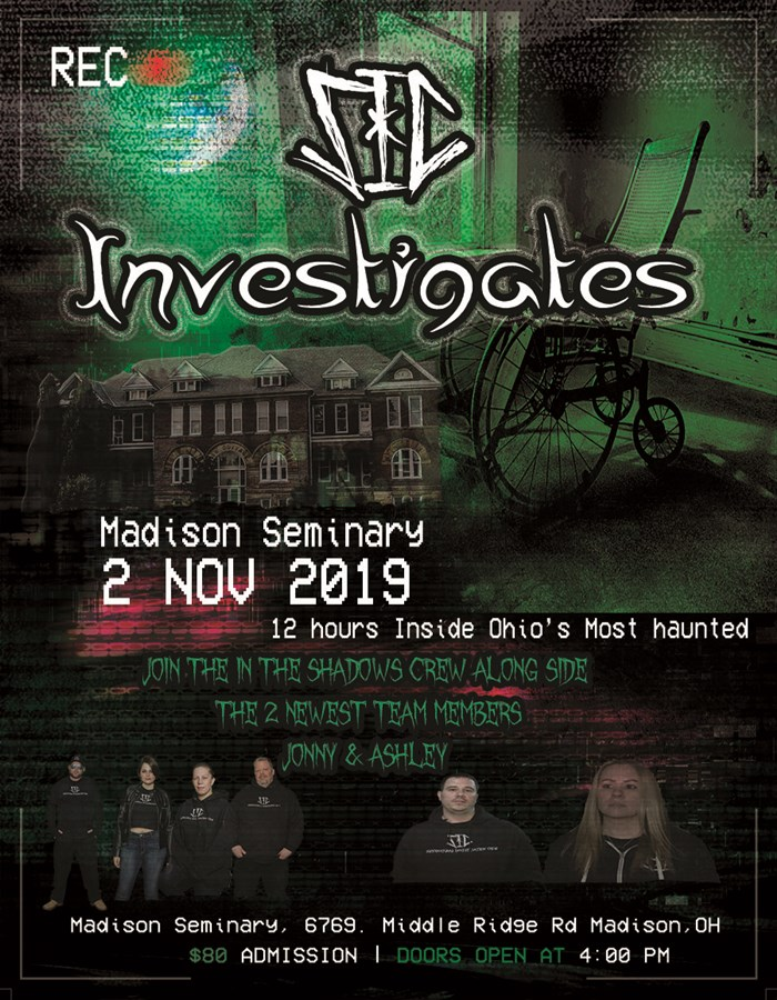 Get Information and buy tickets to SIC Investigates Madison Seminary on Thriller Events