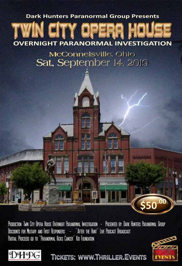 Get Information and buy tickets to Twin City Opera House Overnight Investigation Presented by Dark Hunters Paranormal Group on Thriller Events