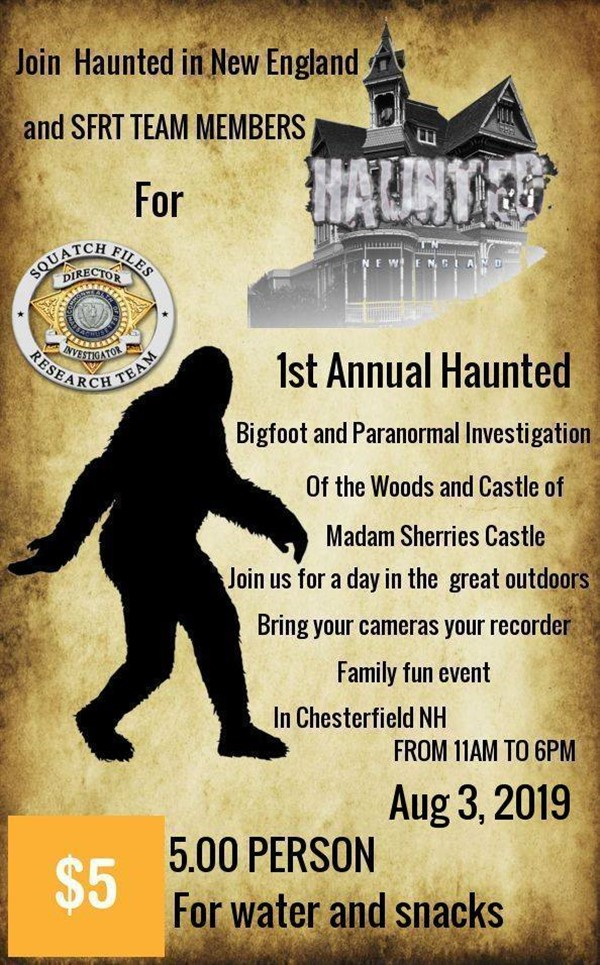 Get Information and buy tickets to First Annual Bigfoot - Ghost Hunt Expedition Presented by New England & Squatch Files Research Team on Thriller Events