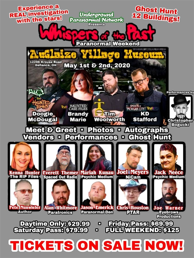 Get Information and buy tickets to Whispers of the Past Public Ghost Hunt Presented by Underground Paranormal Network on Thriller Events