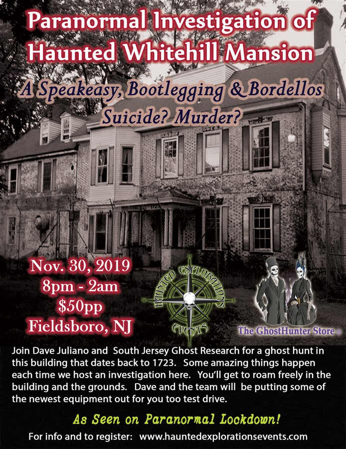Get Information and buy tickets to Investigate Haunted Whitehill Mansion As Seen on Paranormal Lockdown! on Thriller Events