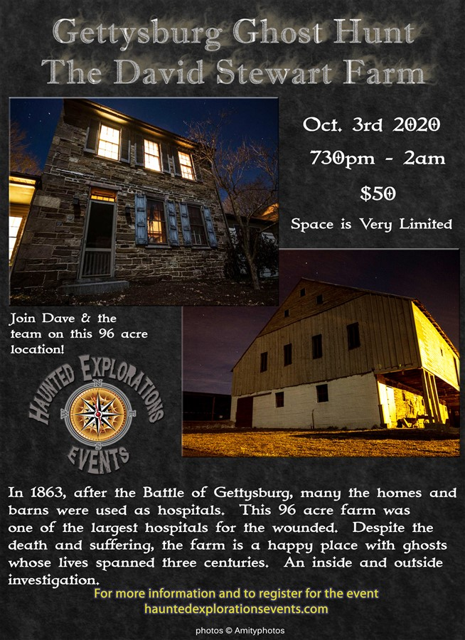 Get Information and buy tickets to Investigate Gettysburg!  David Stewart Farm with Dave Juliano on Thriller Events