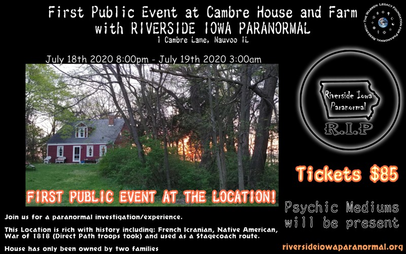 Get Information and buy tickets to First Public Event at the Cambre House and Farm with Riverside Iowa Paranormal on Thriller Events