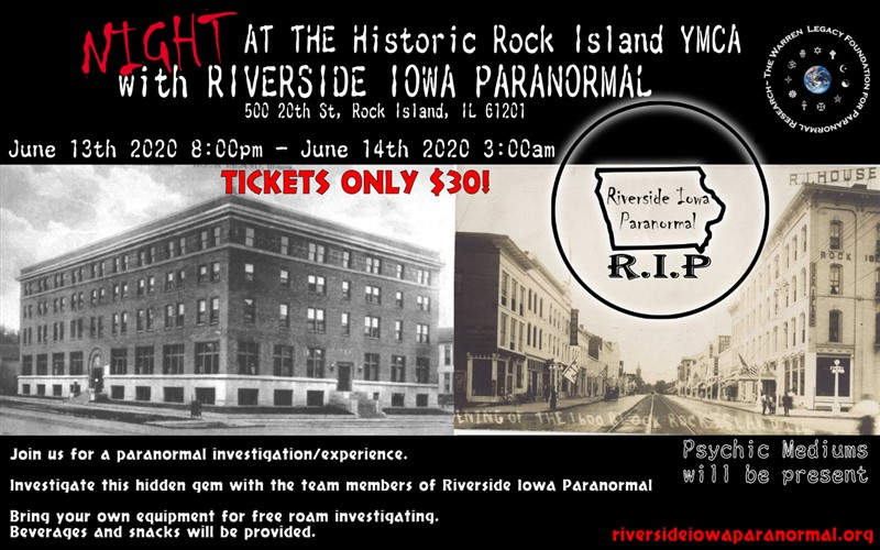 Get Information and buy tickets to Night at the Historic Rock Island YMCA With Riverside Iowa Paranormal on Thriller Events