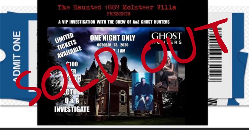 VIP EVENT WITH A&E'S GHOST HUNTERS!