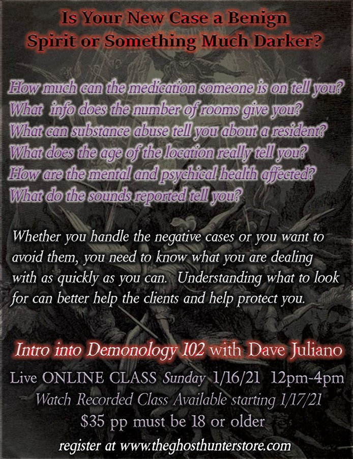 Get Information and buy tickets to Intro to Demonology 102 Online With Dave Juliano on Thriller Events
