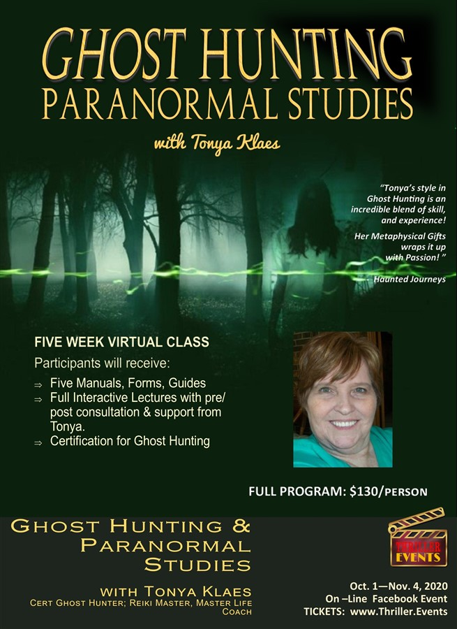 Get Information and buy tickets to Ghost Hunting / Paranormal Studies Tonya Klaes on Thriller Events