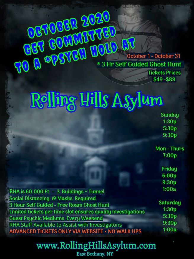 Get Information and buy tickets to 3 Hr Psych Hold at Rolling Hills Asylum Public Self Guided Ghost Hunt on Thriller Events