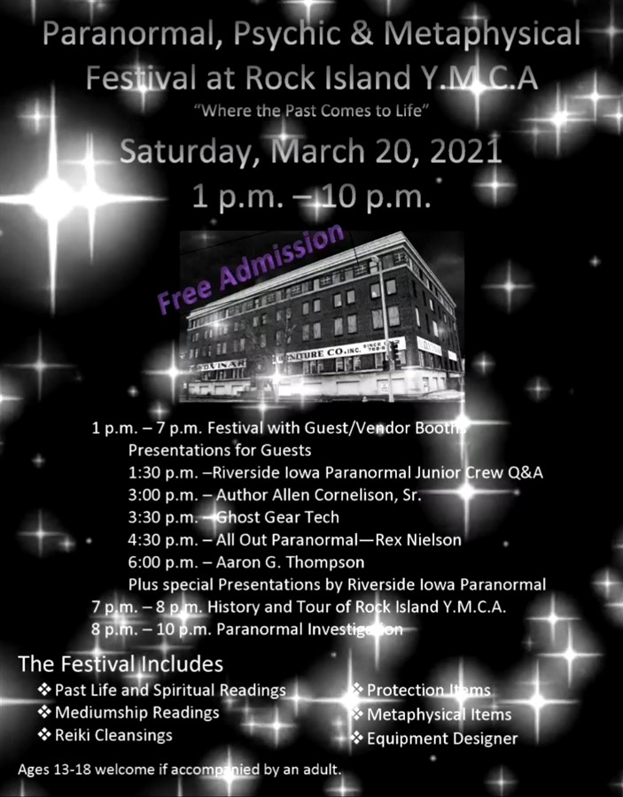 Get Information and buy tickets to Paranormal,  Psychic,  and Metaphysical Festival at the Rock Island YMCA  on Thriller Events