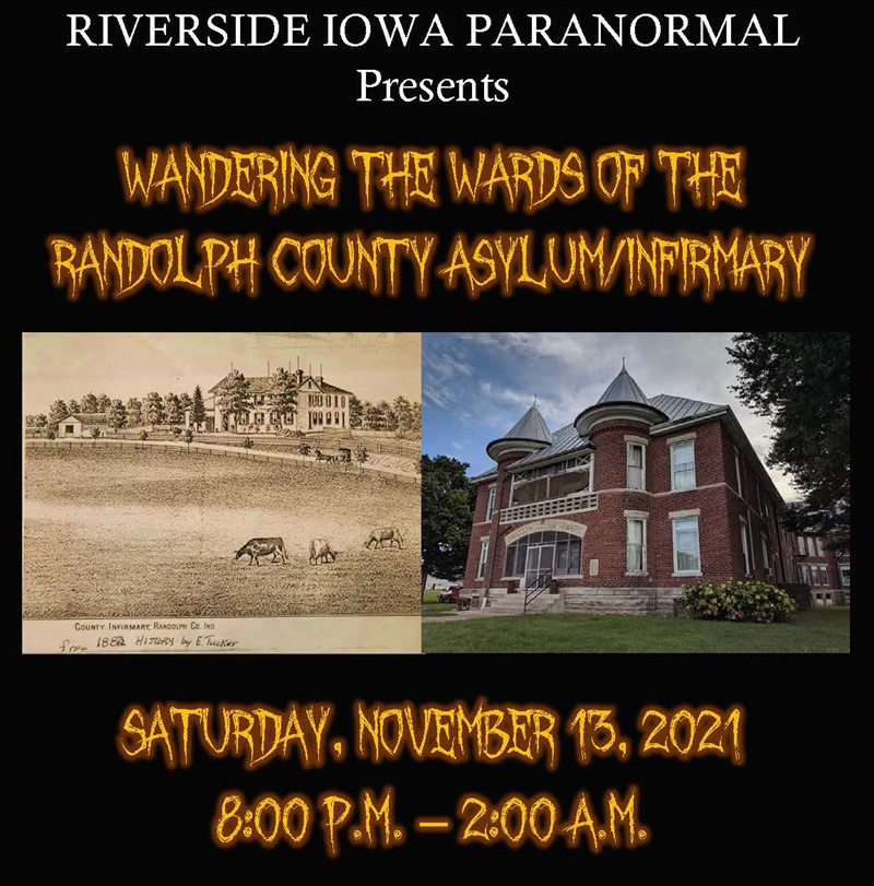 Get Information and buy tickets to Wandering the Wards of the Randolph County Asylum/Infirmary  on Thriller Events