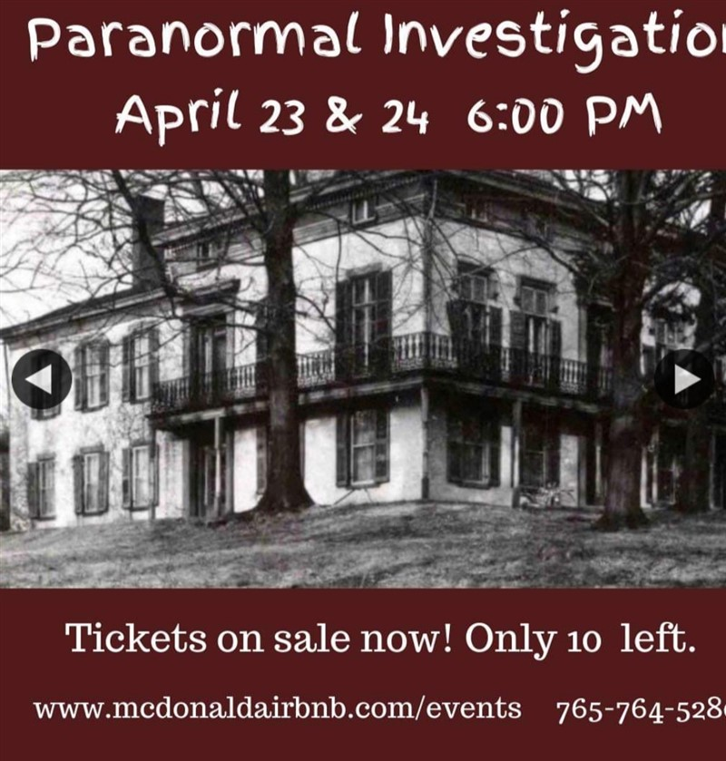 Get Information and buy tickets to McDonald AirBnB Paranormal Investigation  on Thriller Events