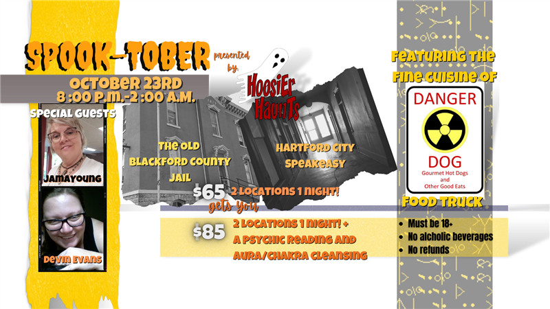 Get Information and buy tickets to Hoosier Haunts Presents Spook-tober The Old Blackford County Jail & Hartford City Speakeasy on Thriller Events
