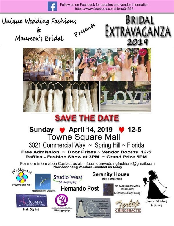 Get Information and buy tickets to Bridal Extravaganza 4/14/ 2019 FREE: Admission Unique Wedding Fashions Vendors Welcome on HernandoPost.com