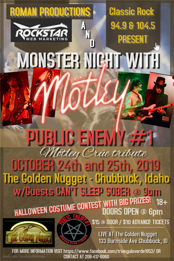 Get Information and buy tickets to Monster night with motley  on Roman productions